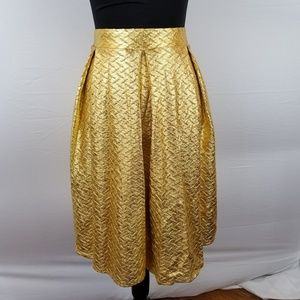 LuLaRoe Gold Metallic Madison Skirt - NWT